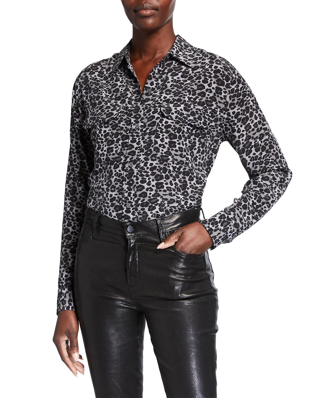 Signature Leopard Print Silk Shirt