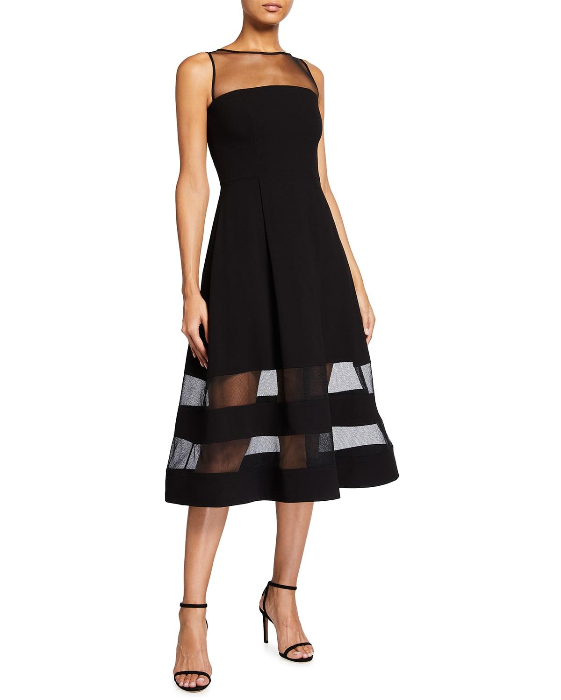 Sleeveless Crepe & Mesh A-Line Dress