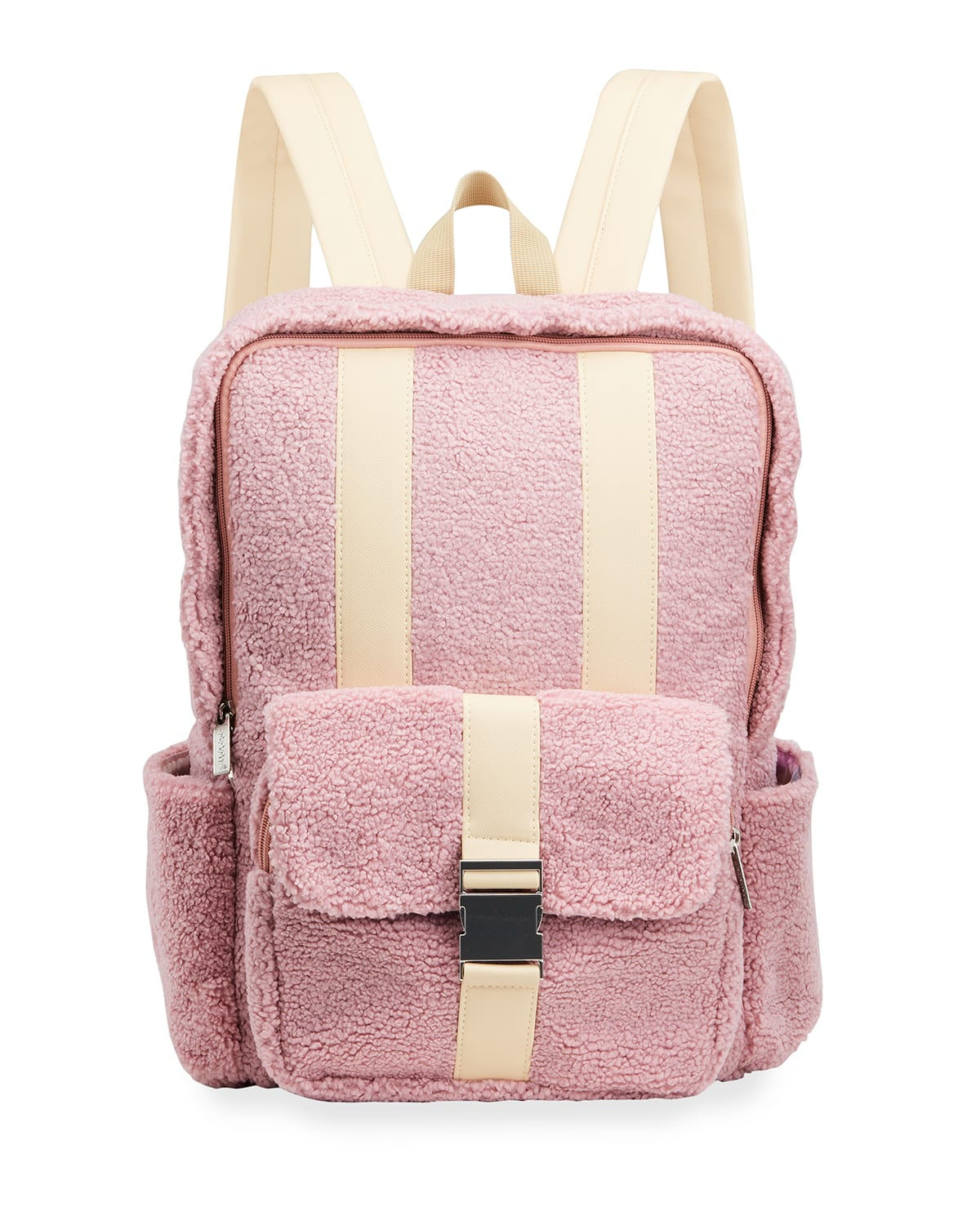 Girl's Sherpa & Faux Leather Backpack