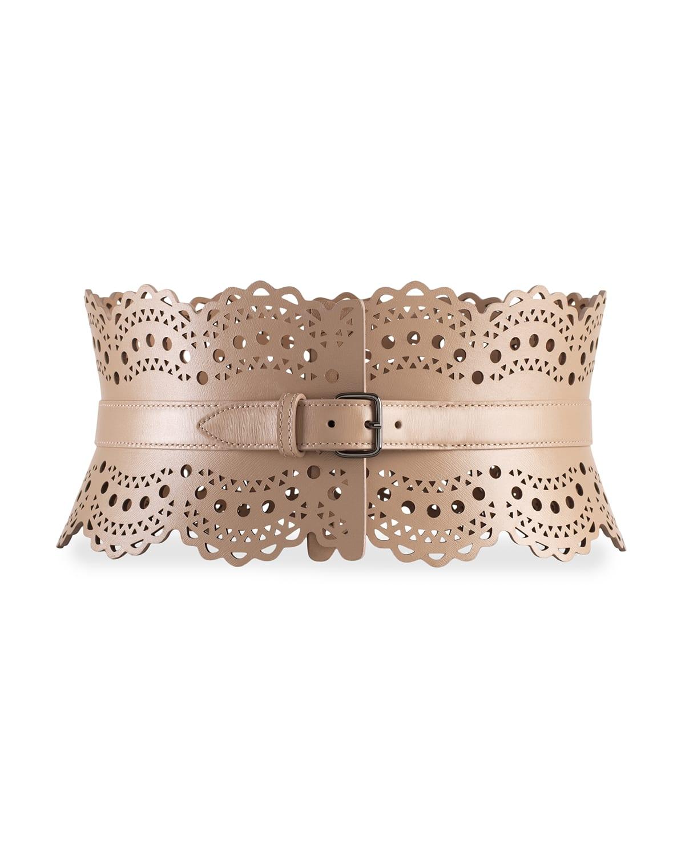 Openwork Wide Leather Vienne Corset Belt