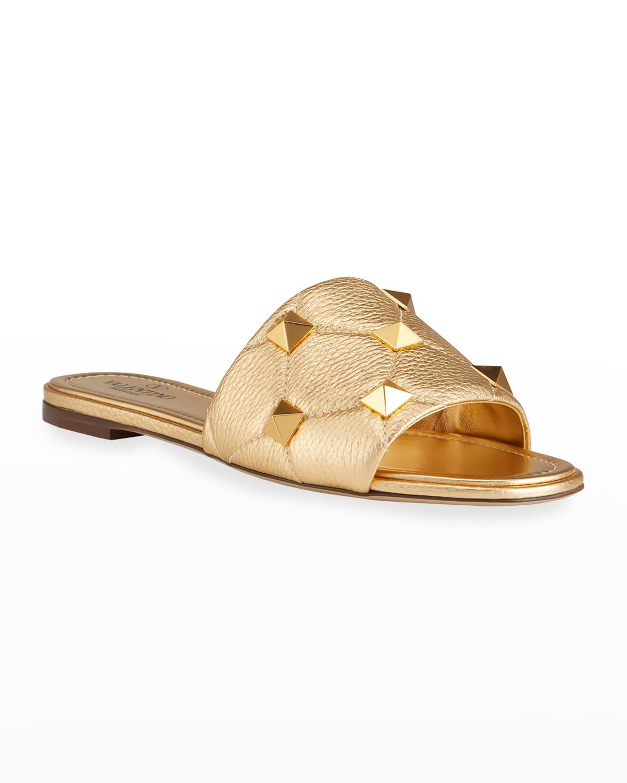 Roman Stud Metallic Slide Sandals