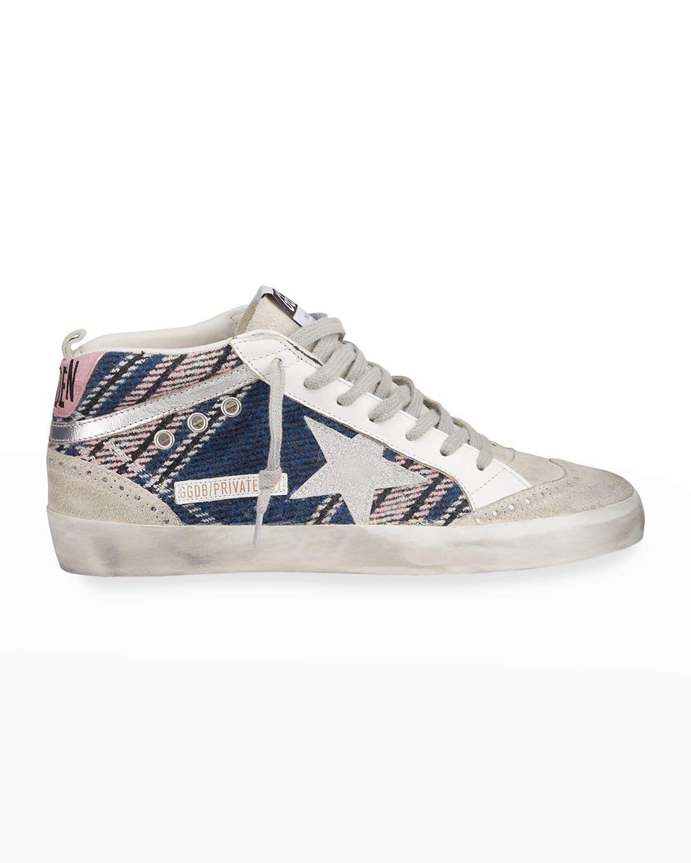 Plaid Mid-Top Girlie Sneakers