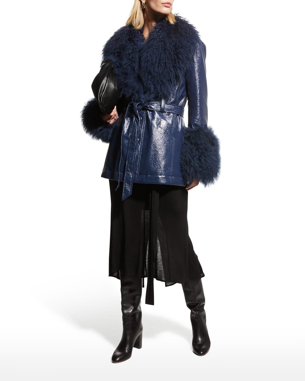 Blair Faux-Patent-Leather Coat with Mongolian Fur Trim