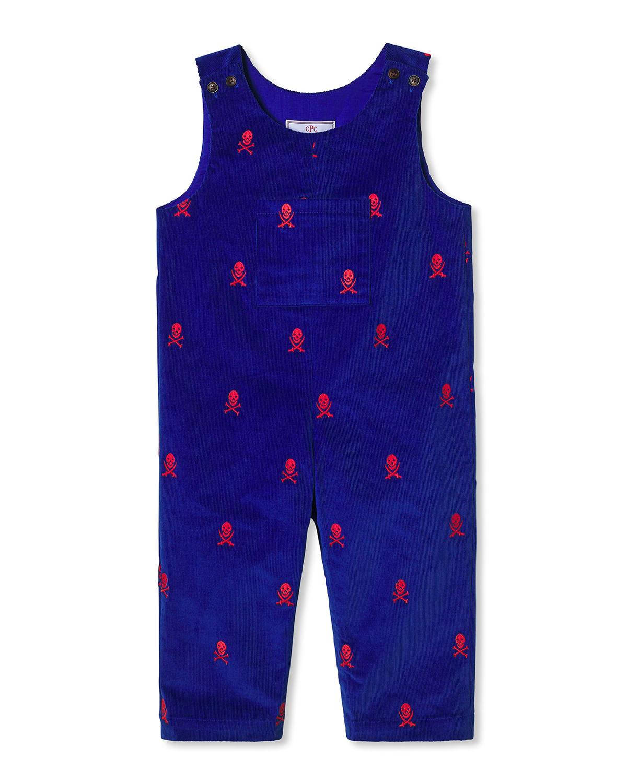 Boy's Tucker Embroidered Corduroy Overalls