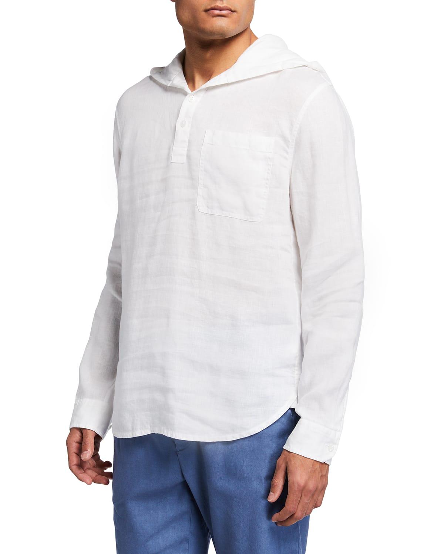 Men's Solid Linen Pullover Shirt