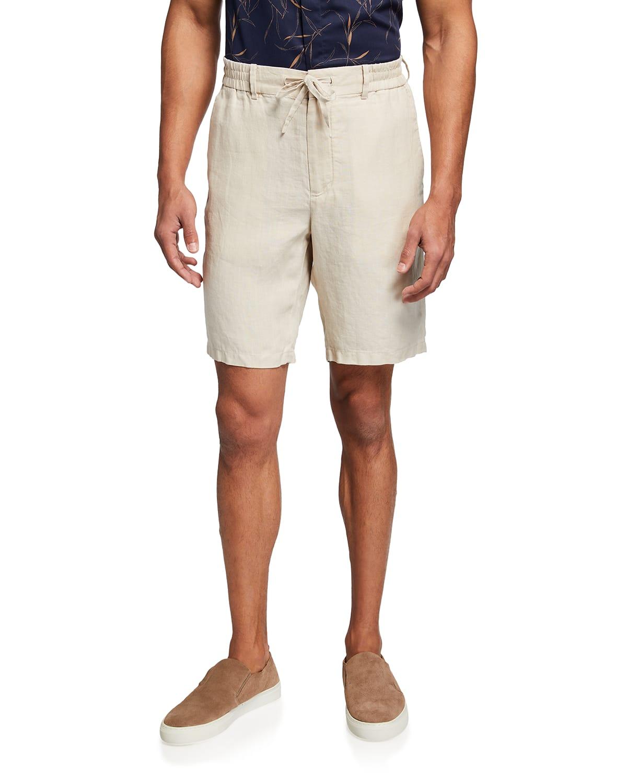 Men's Linen-Blend Drawstring Shorts