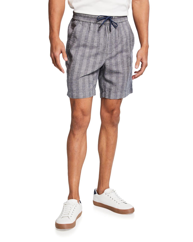 Men's Textured-Stripe Drawstring Shorts