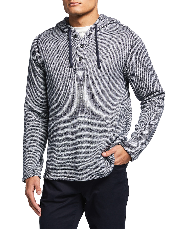Men's Striped Beach Terry Hooded Henley Shirt