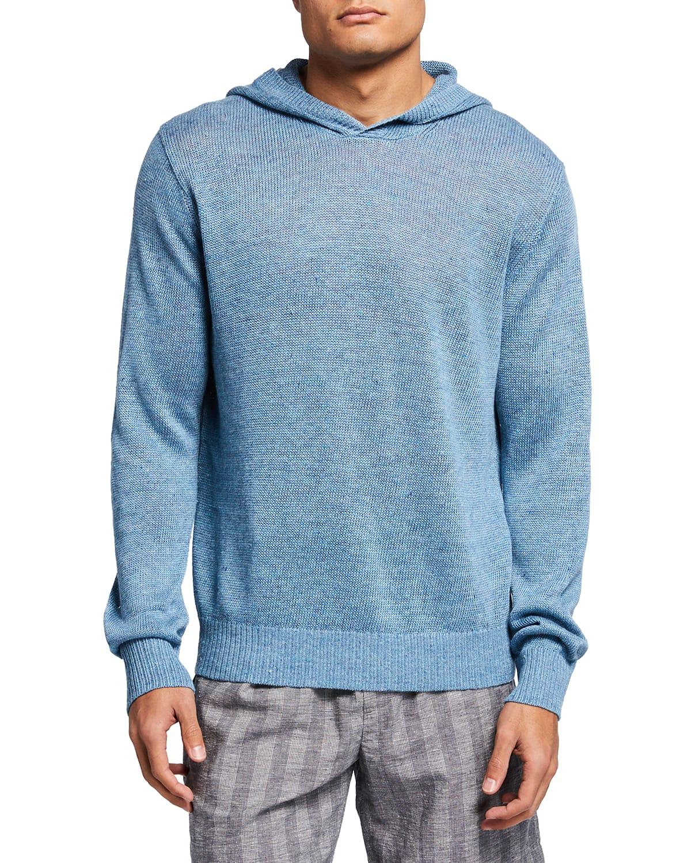 Men's Linen Melange Pullover Hoodie