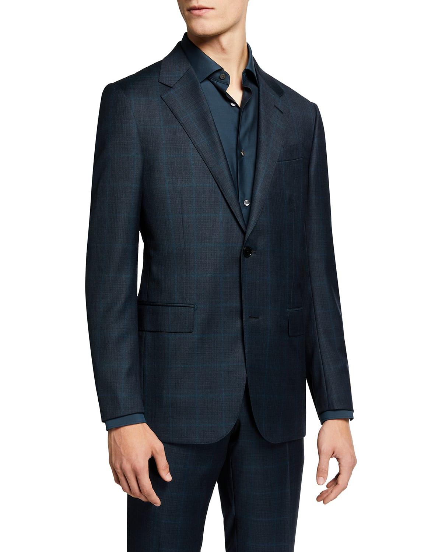 Men's Wool Plaid Windowpane Two-Piece Suit