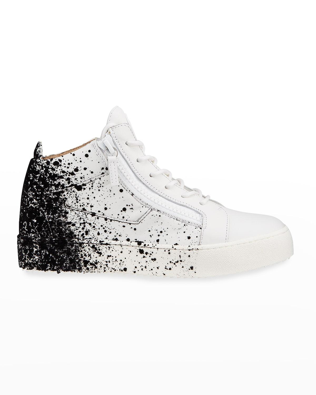 Men's Paint Splattered Mid-Top Sneakers