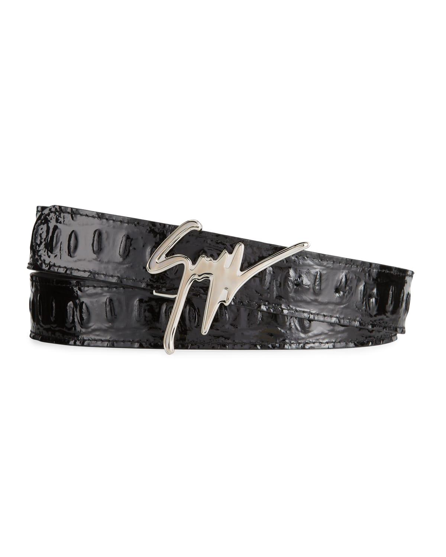 Men's Vernischa Croc-Embossed Logo Script Buckle Belt