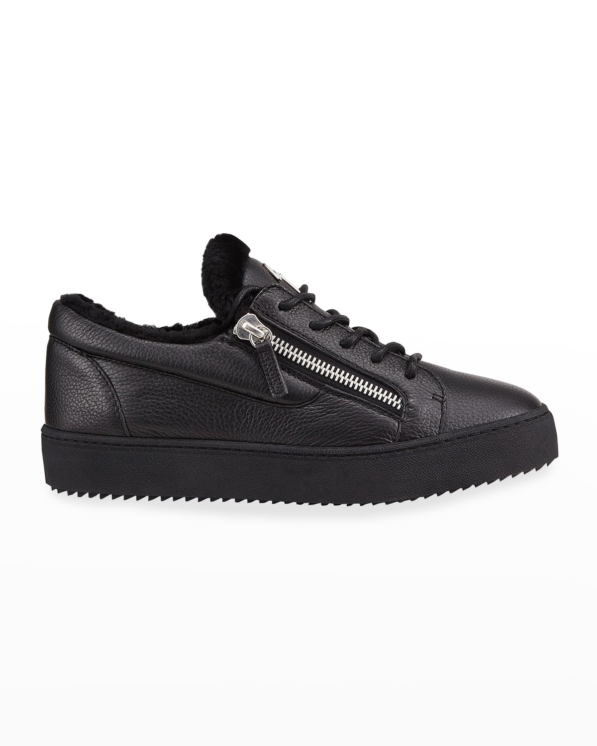 Men's Arena Leather %26 Shearling Low-Top Sneakers