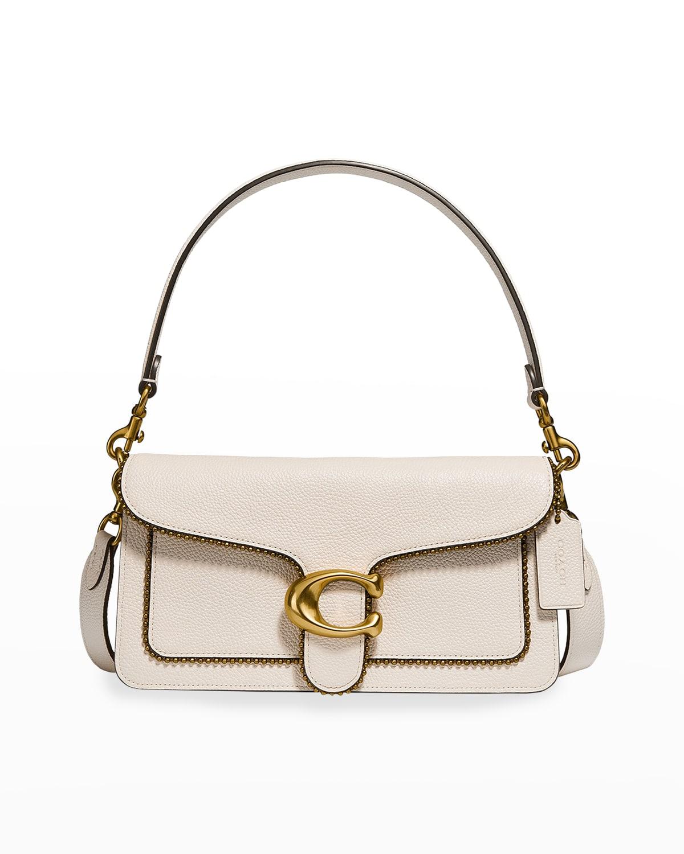 Tabby Pebbled Leather Shoulder Bag w/ Golden Beaded Trim