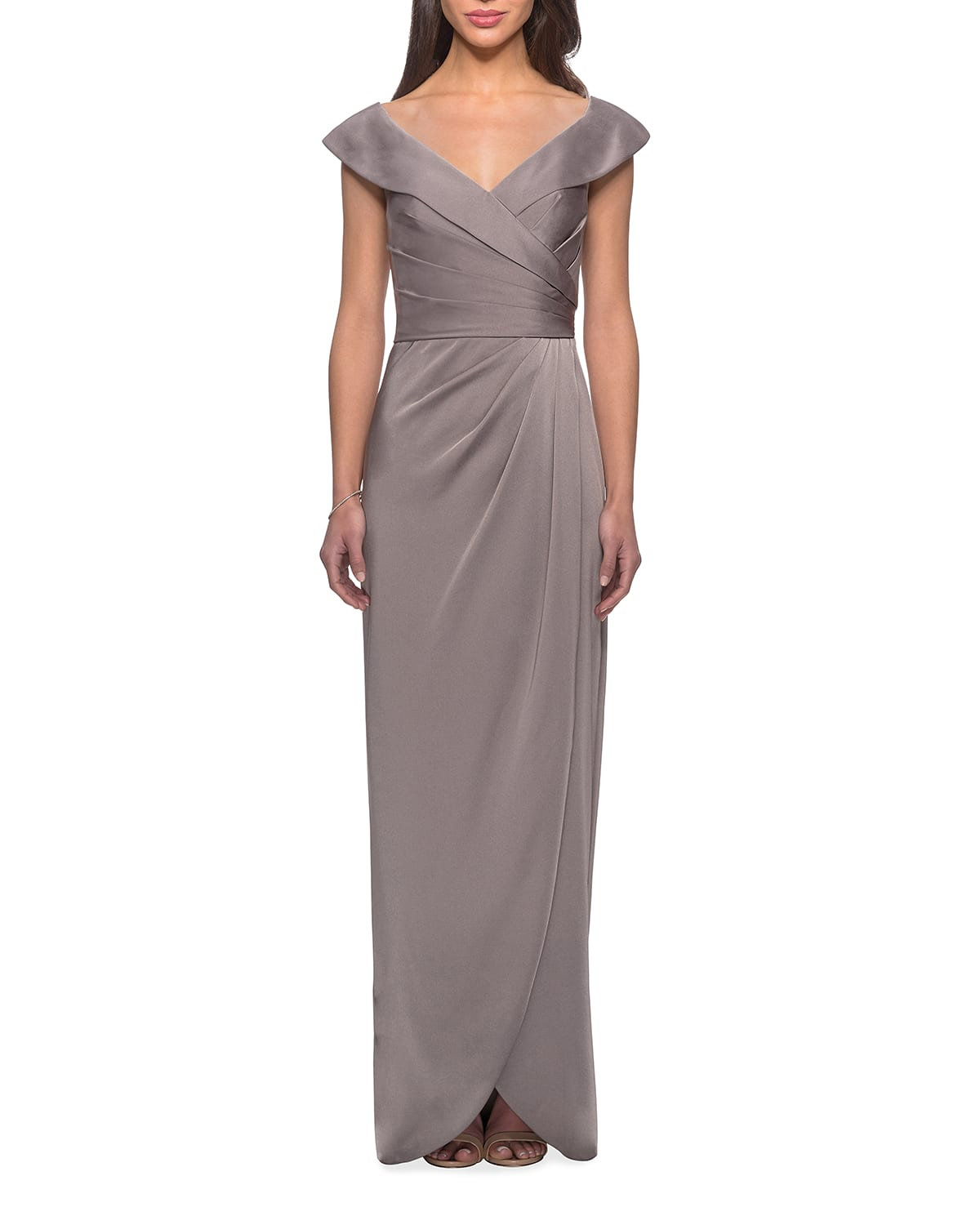 Off-the-Shoulder Ruched Jersey Column Gown