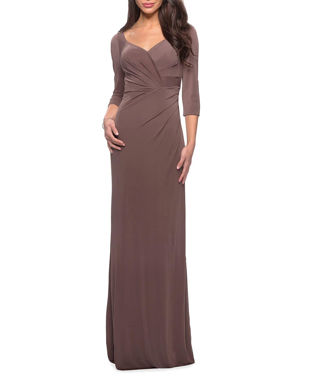 V-Neck 3/4-Sleeve Long Jersey Dress