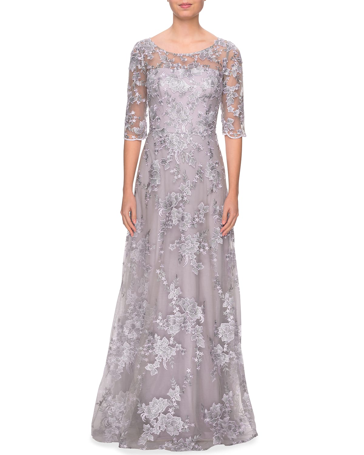 3/4-Sleeve Floral Lace A-Line Gown
