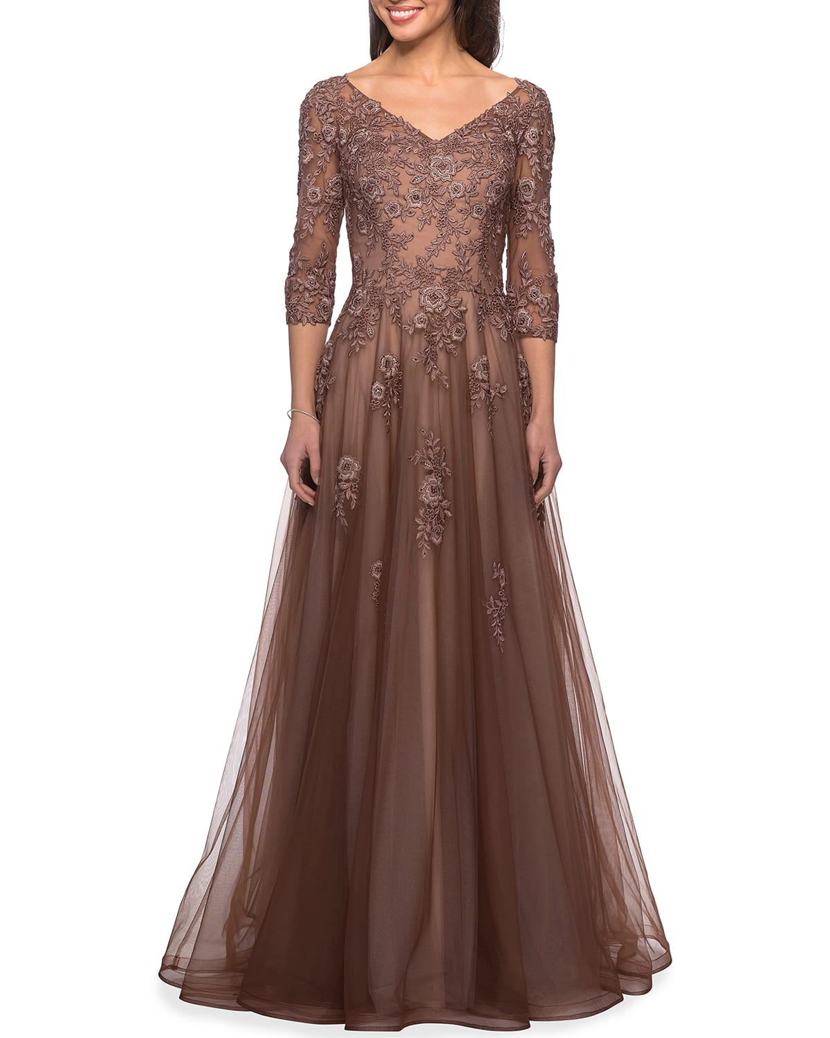Floral Lace & Tulle A-Line Gown