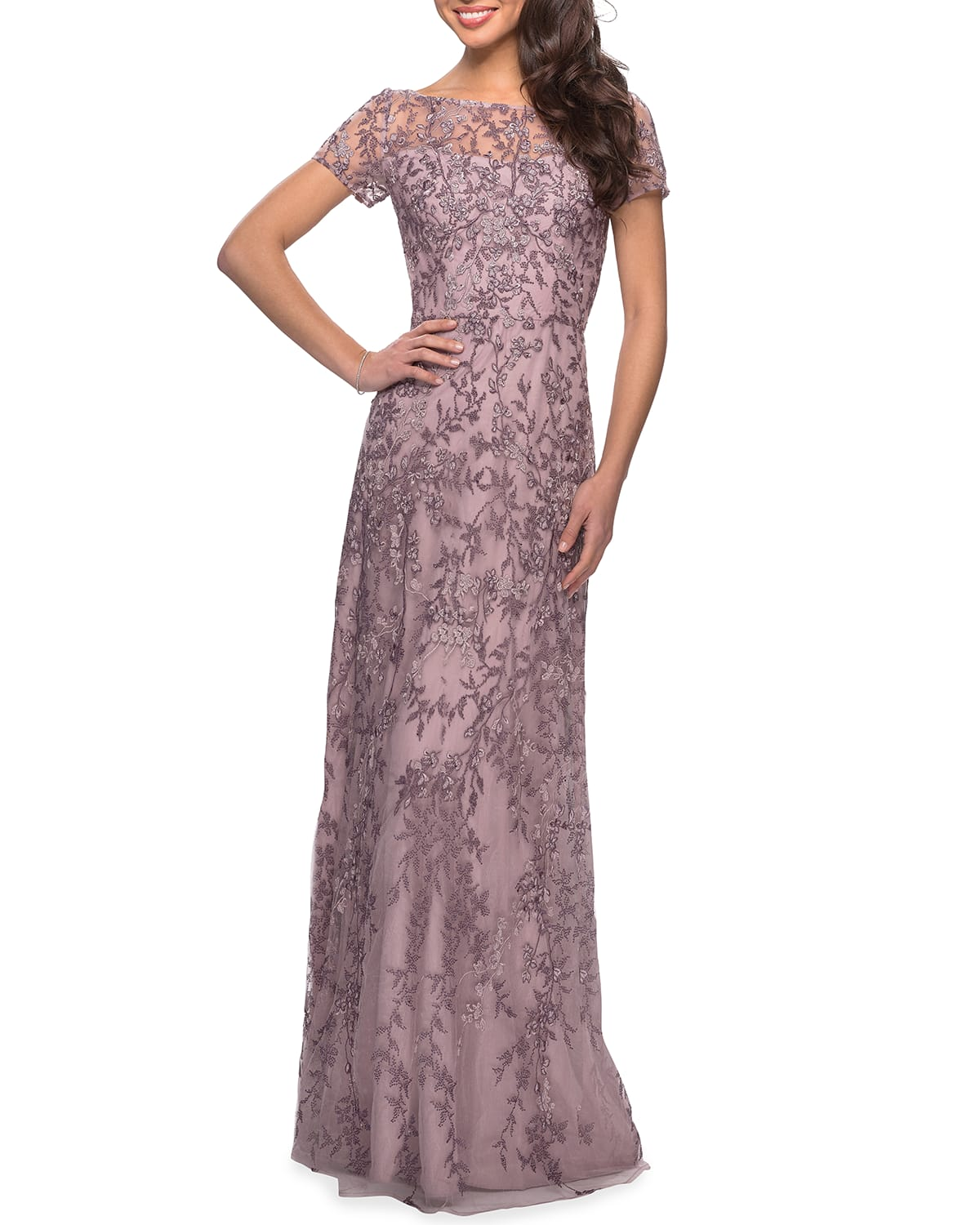 High-Neck Floral Beaded Lace Gown