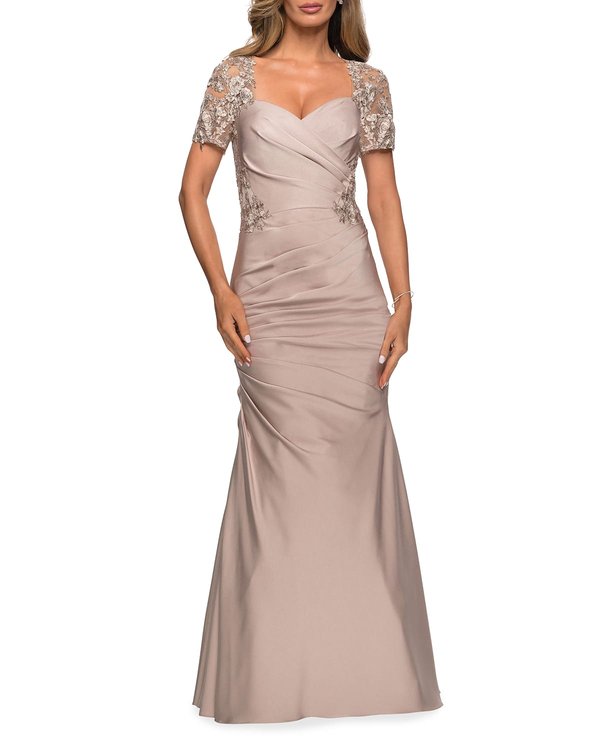 Sweetheart Ruched Satin Gown with Lace Back