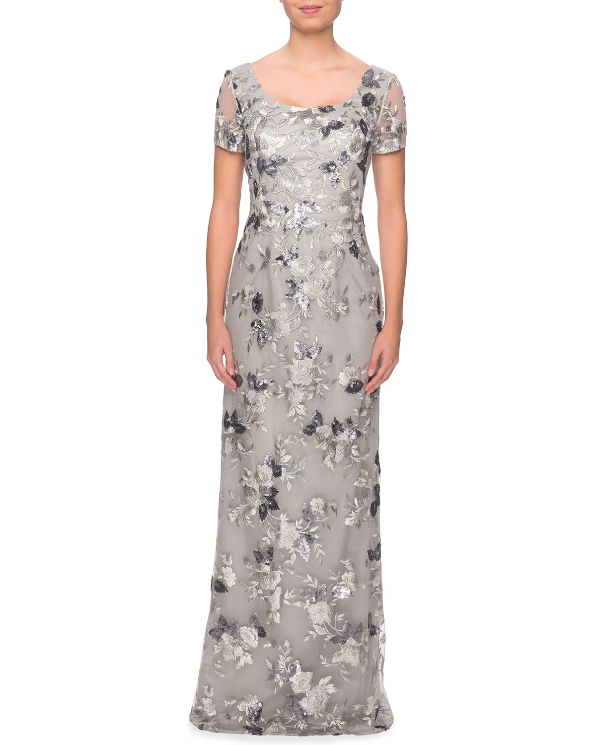 Scoop-Neck Embellished Floral Lace Gown