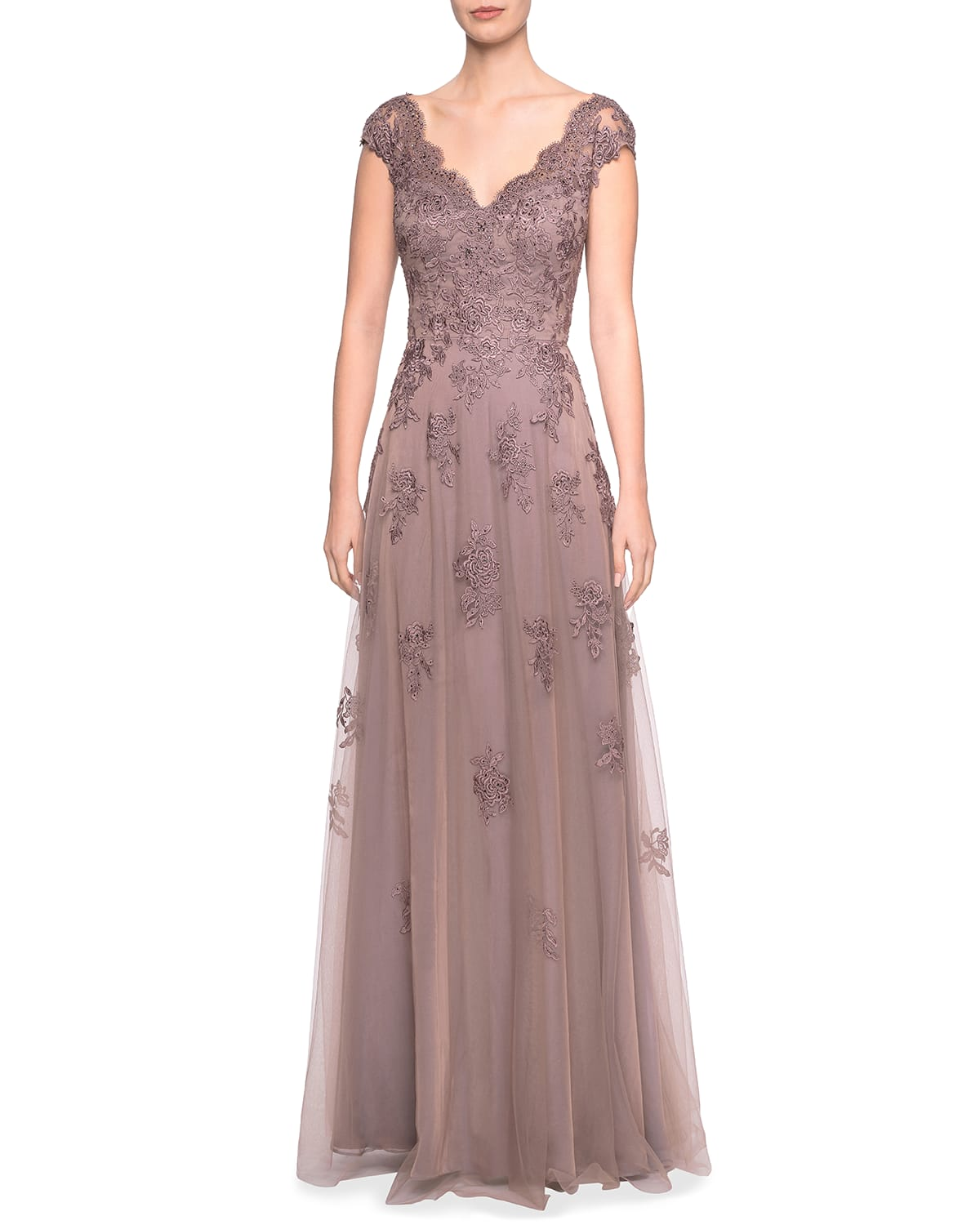 Embellished Floral Lace Cap-Sleeve Tulle A-Line Gown