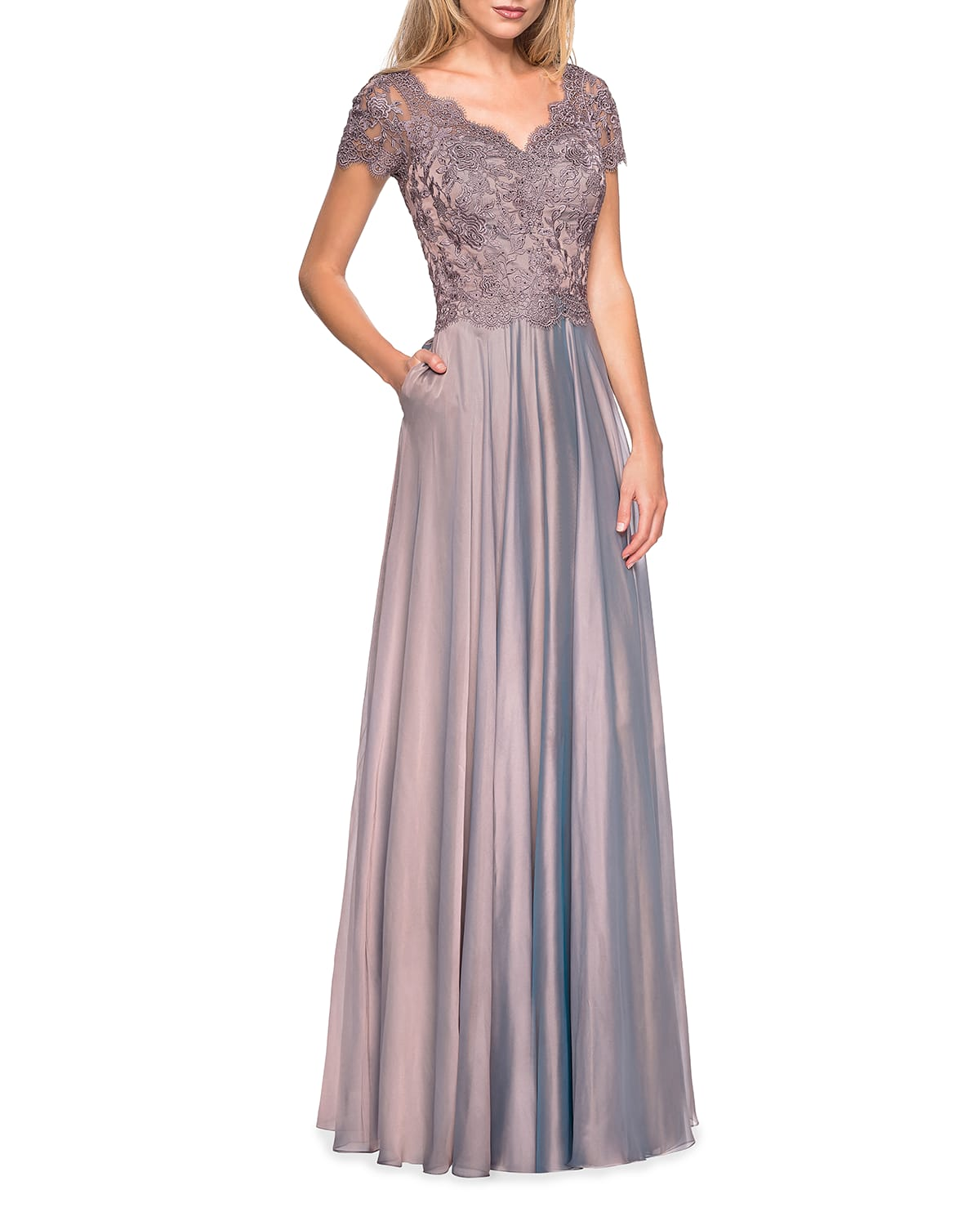 Lace Bodice Chiffon A-Line Gown