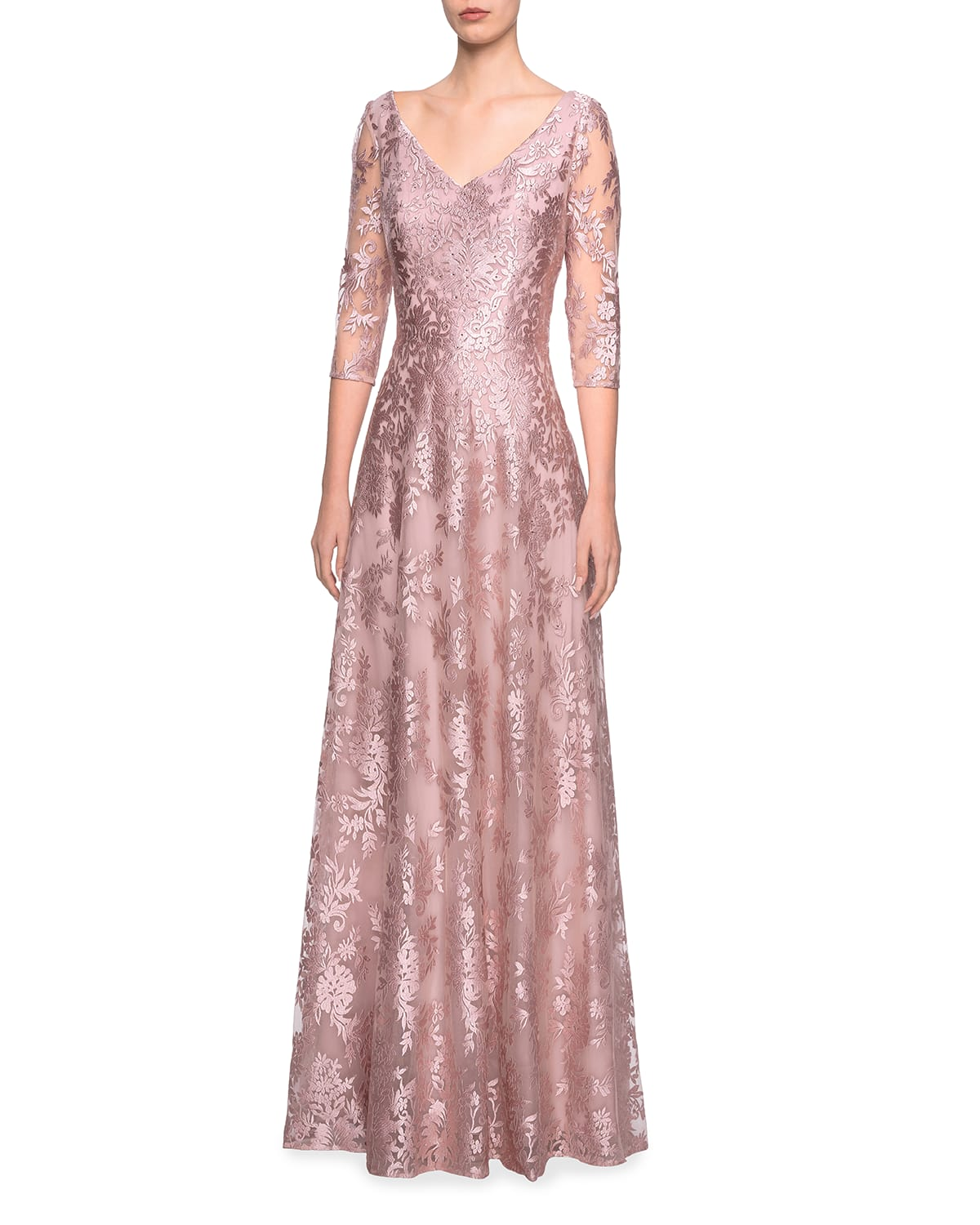V-Neck 3/4-Sleeve Metallic Lace A-Line Gown