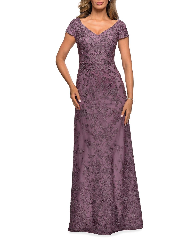Cap-Sleeve Lace Column Gown