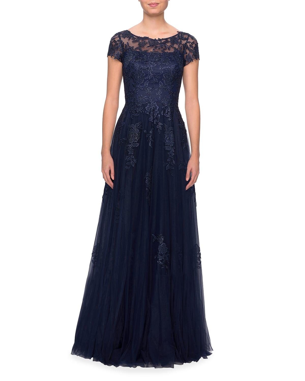 Lace Applique Tulle A-Line Gown