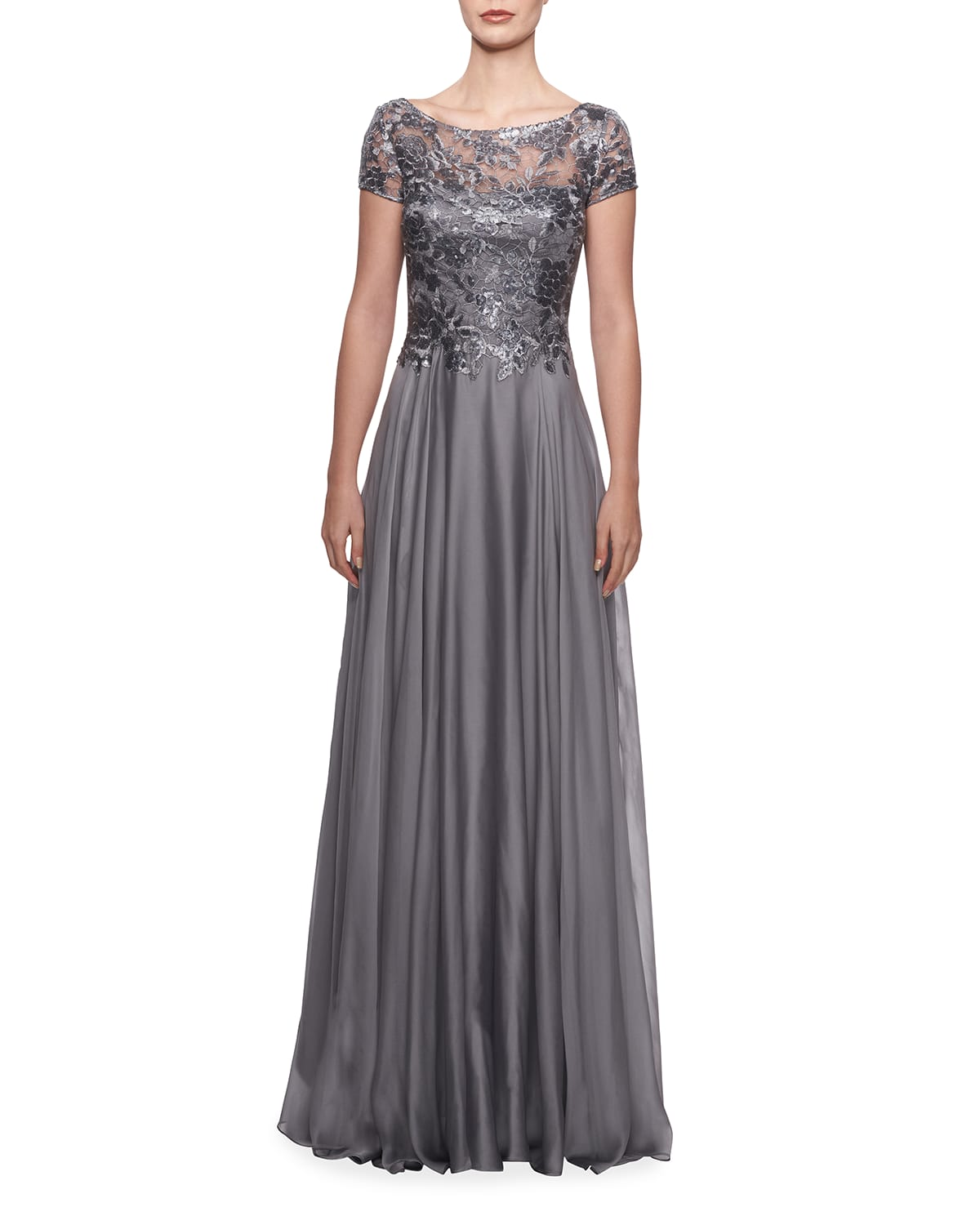 Cap-Sleeve Chiffon Gown with Metallic Lace Bodice
