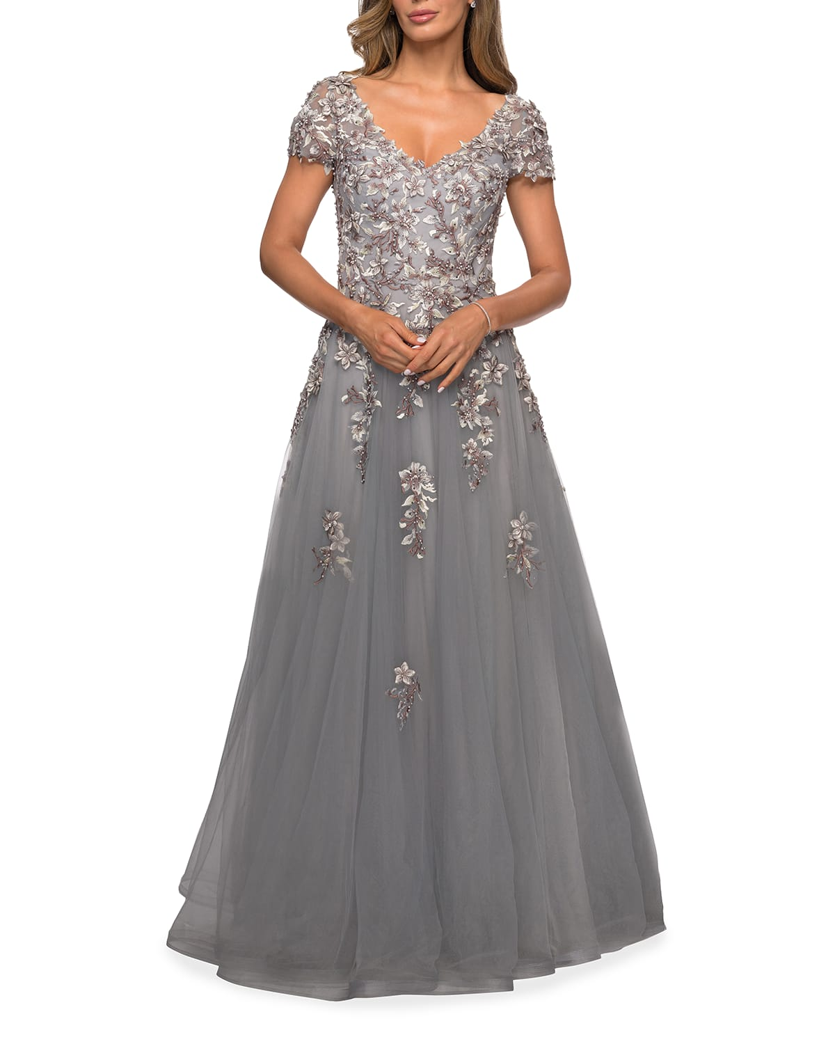 Beaded Lace Applique Tulle A-Line Gown
