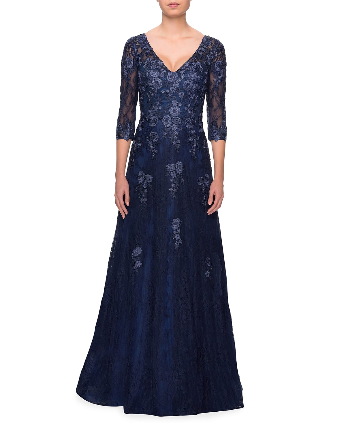 V-Neck 3/4-Sleeve Tulle Gown with Floral Lace Applique