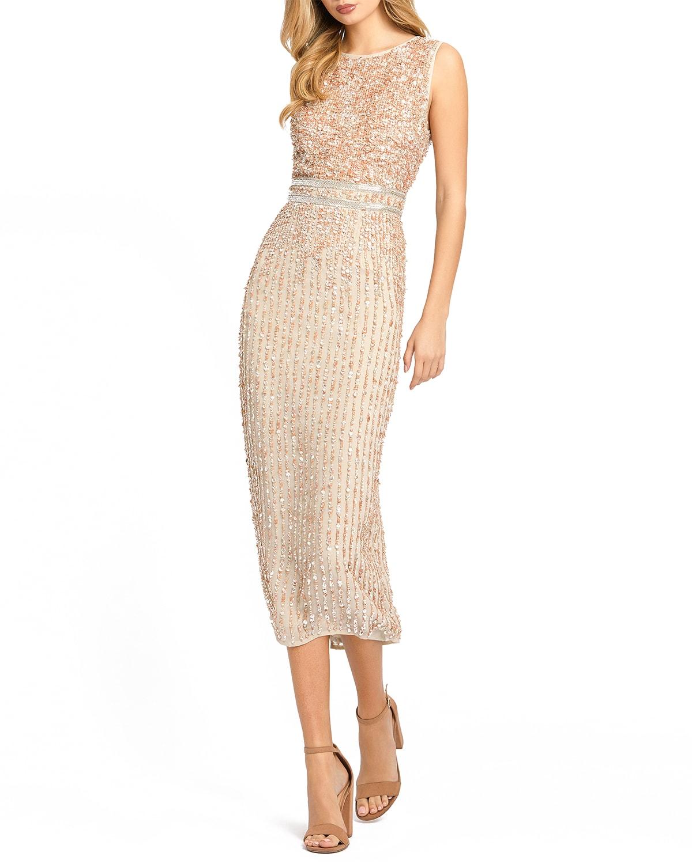 Sequin High-Neck Column Midi Dress
