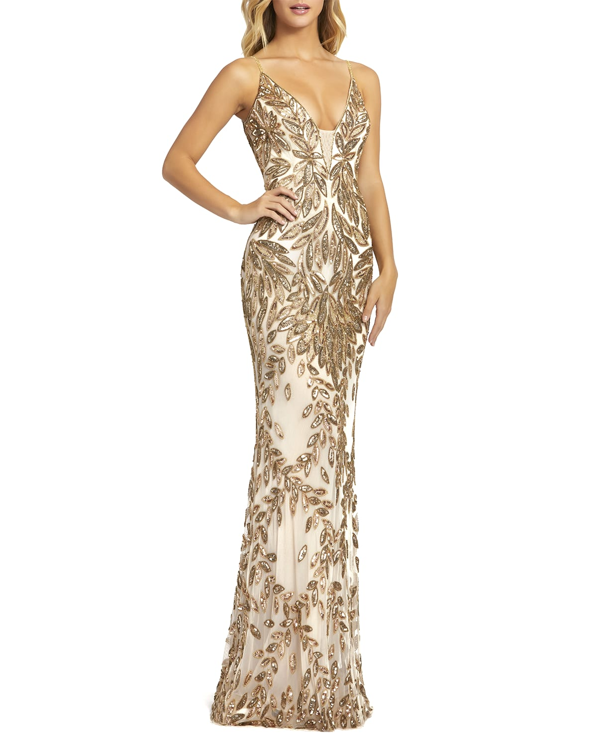 Sequin Leaf Plunging Sheath Gown