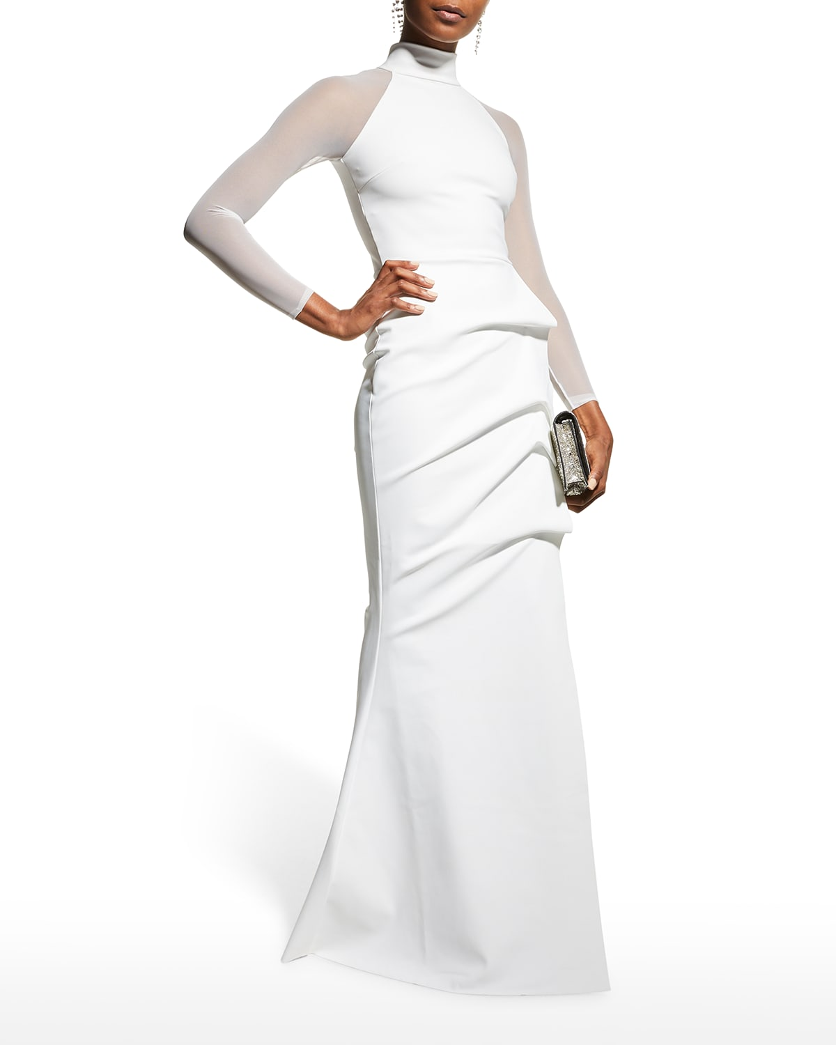Maylys Mock-Neck Long-Sleeve Illusion Gown