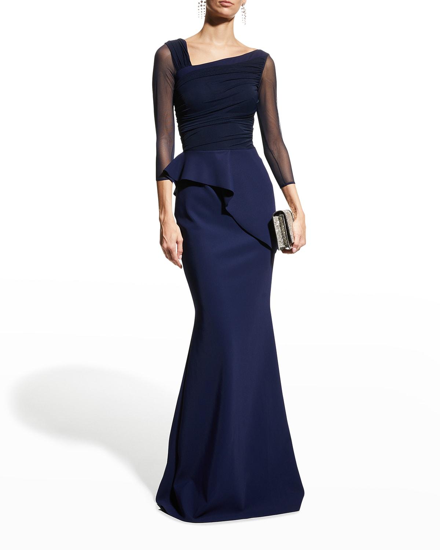 Rippy Asymmetrical 3/4-Sleeve Illusion Gown