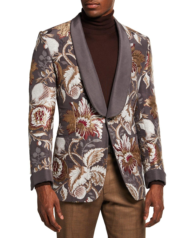 Men's Embroidered Floral Shawl Dinner Jacket