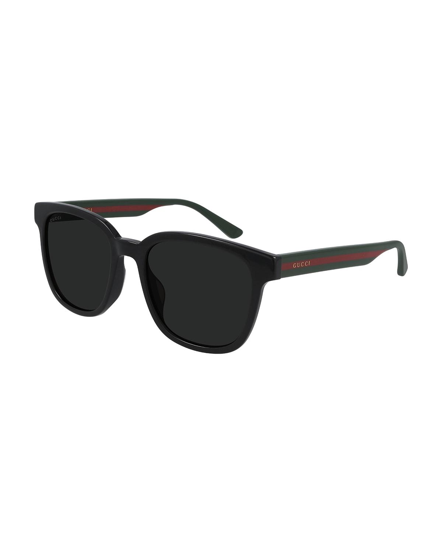 Men's Square Sunglasses with Signature Web