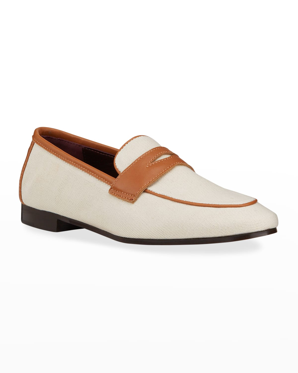 Bicolor Linen Penny Loafers