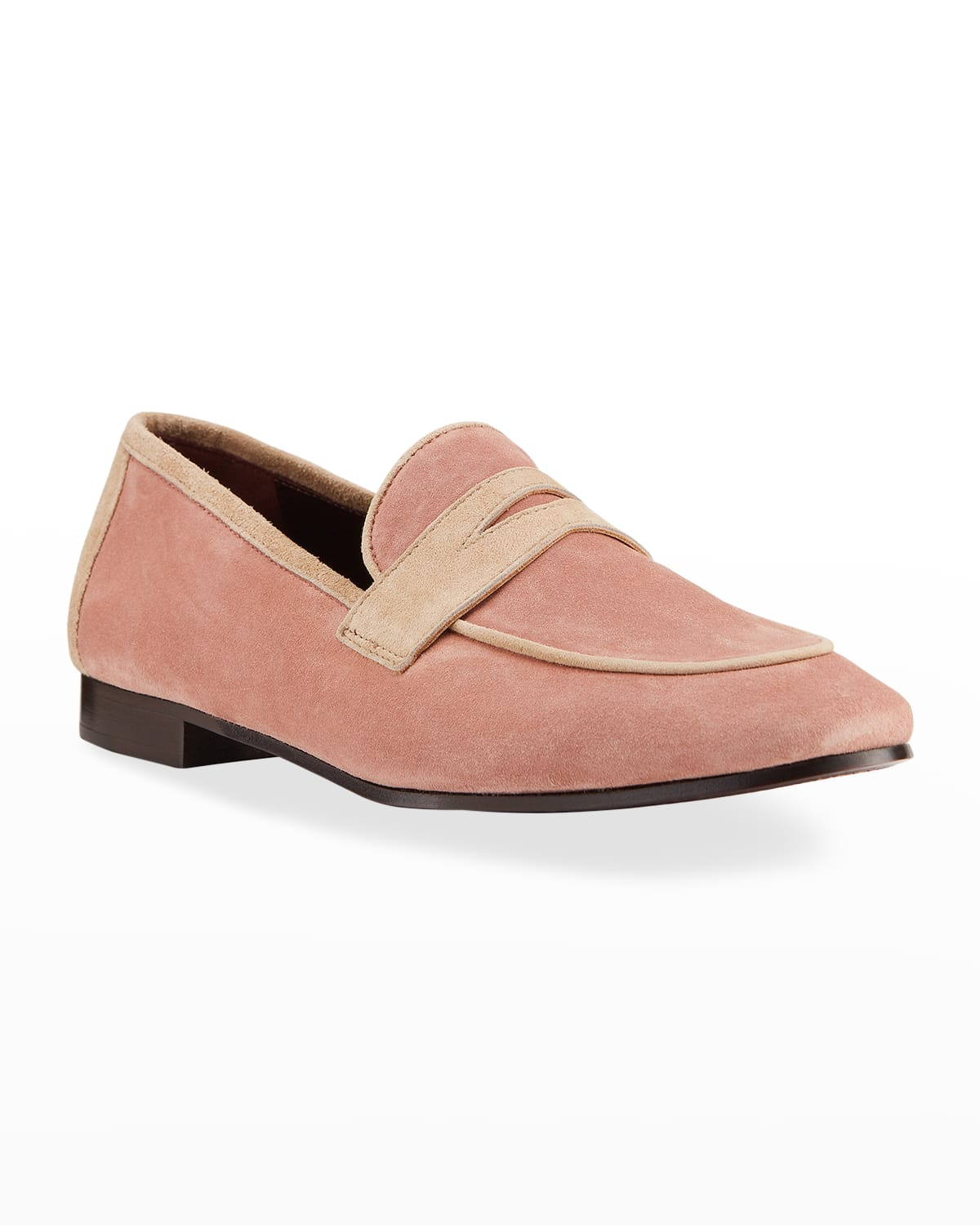 Bicolor Suede Penny Loafers