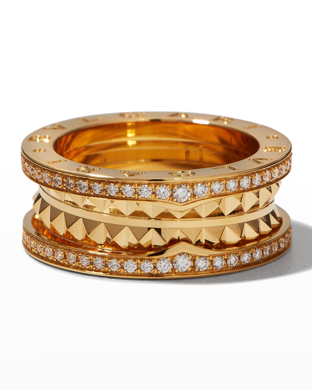 B.Zero1 Yellow Gold Diamond Edge Ring
