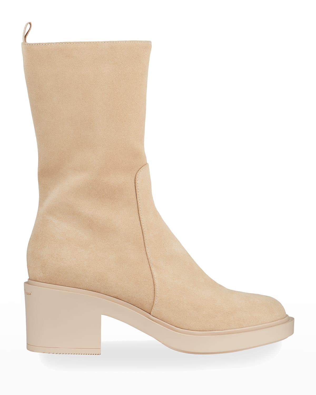 45mm Suede Mid-Shaft Zip Boots