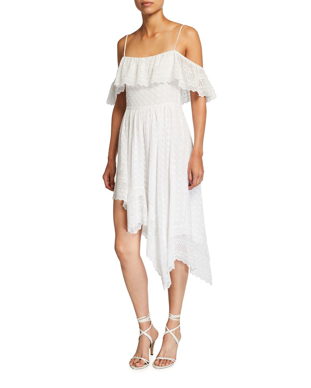 Timoria Asymmetric Eyelet Cotton Dress