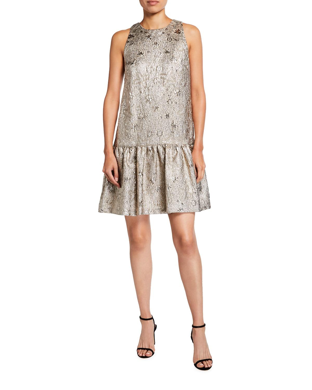 Metallic Sleeveless Drop-Waist Flounce Dress