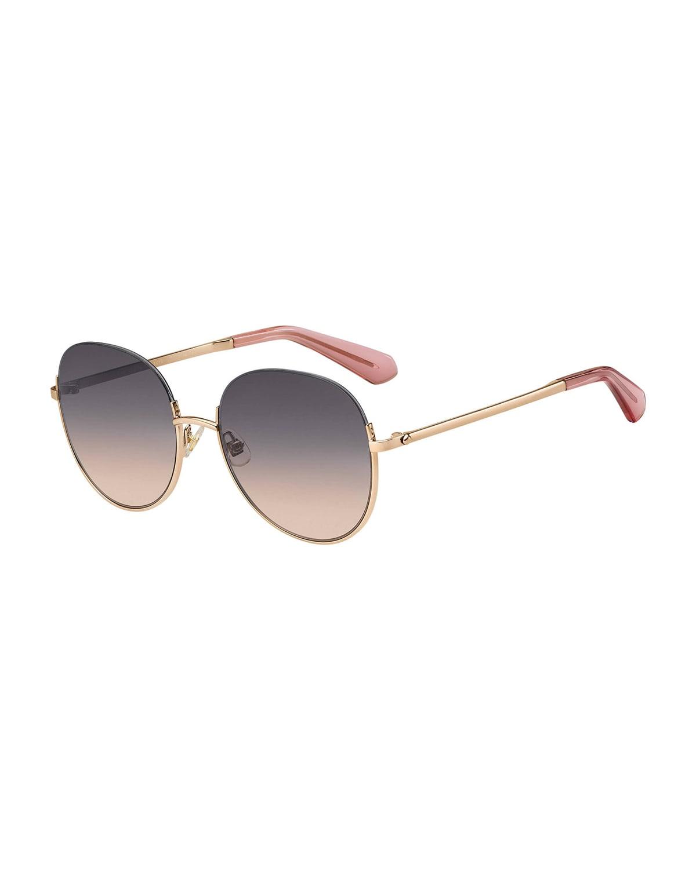 astelle semi-rimless round stainless steel sunglasses