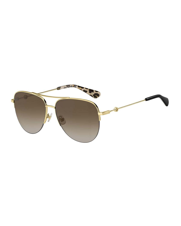 maisie stainless steel aviator sunglasses