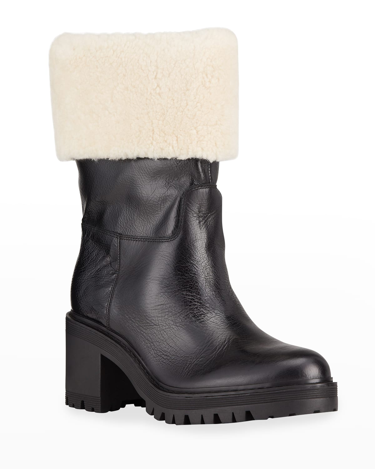 Willoele Leather Ankle Boots w/ Shearling Collar