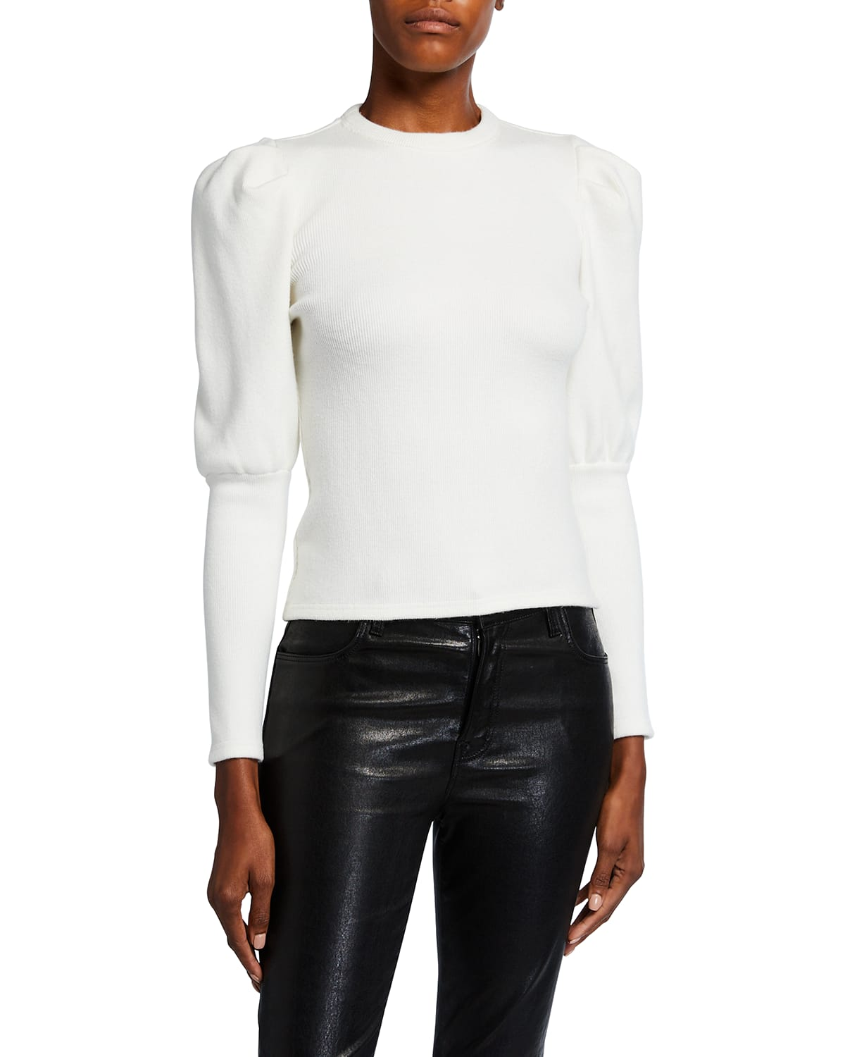 Puff-Sleeve Ribbed Top