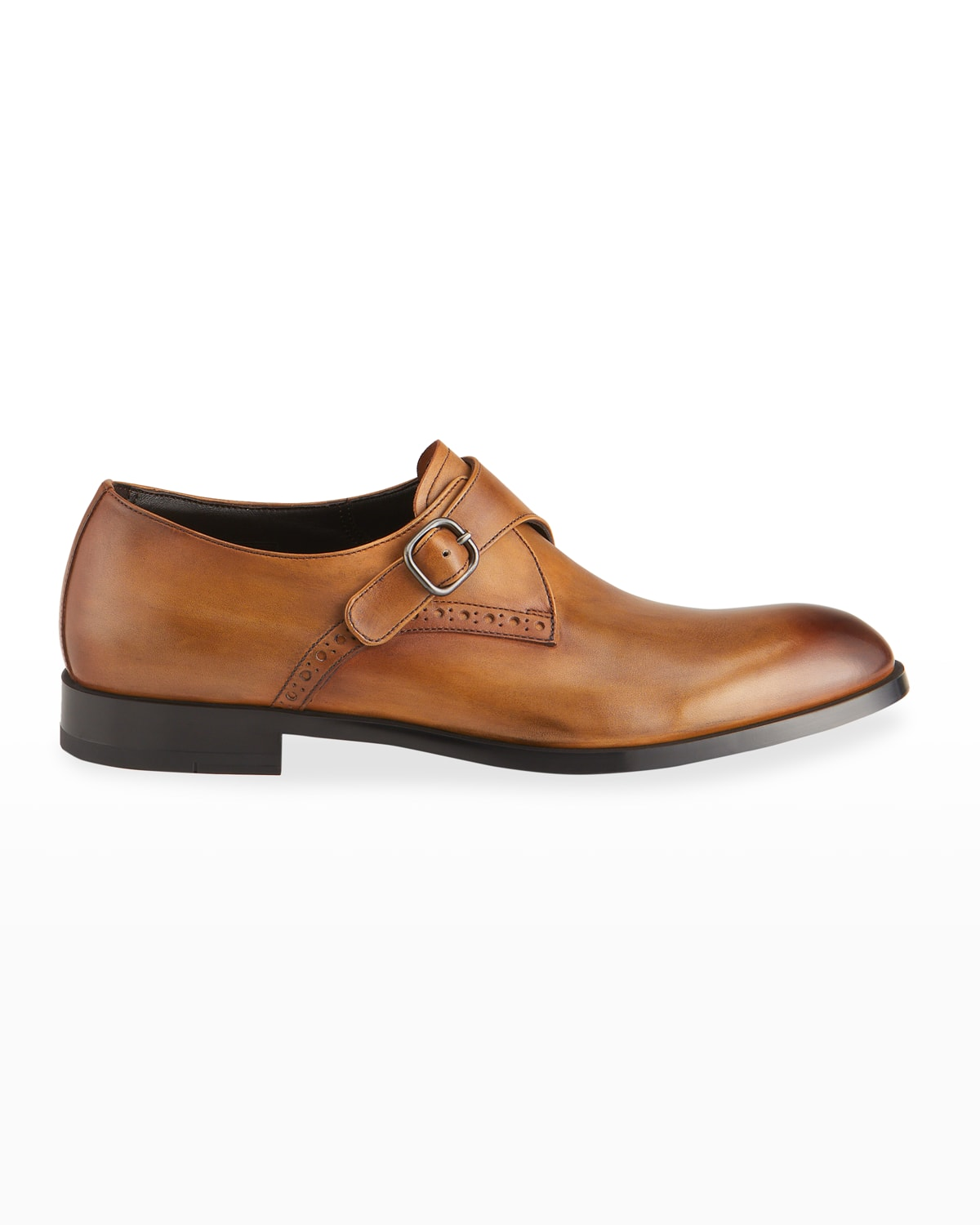 Men's Smooth Leather Single-Monk Slip-On Shoes
